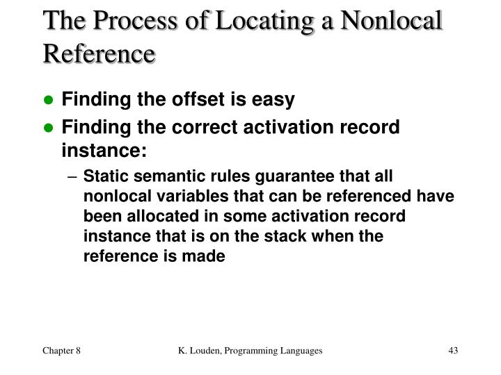 The Process of Locating a Nonlocal Reference