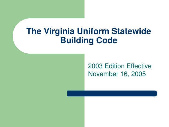 the virginia uniform statewide building code n.