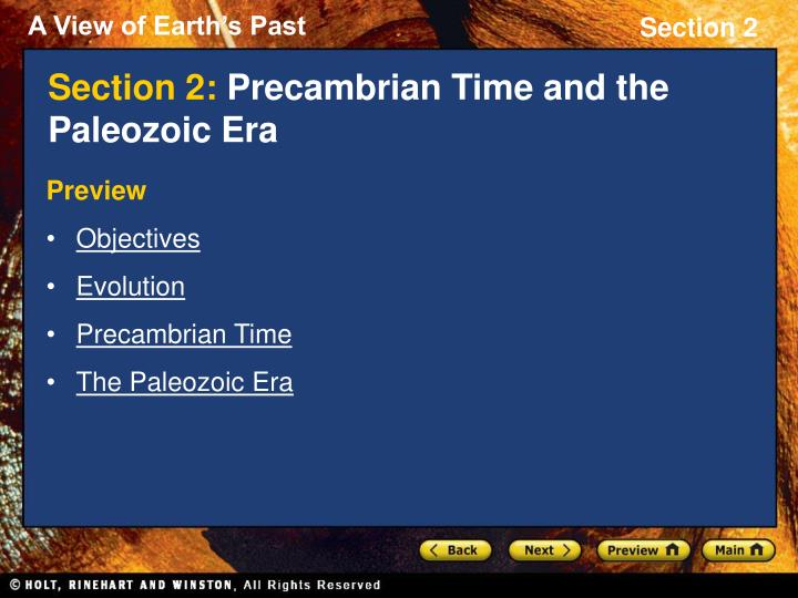 section 2 precambrian time and the paleozoic era n.