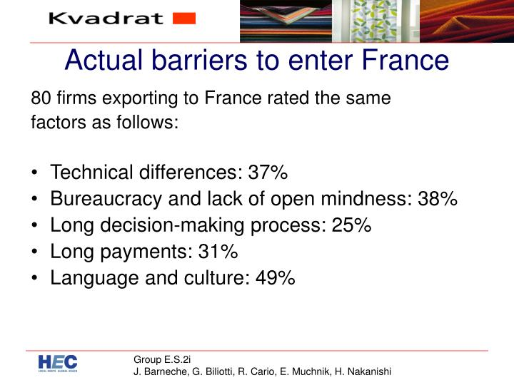 Actual barriers to enter France
