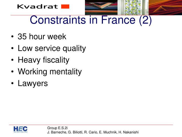 Constraints in France (2)