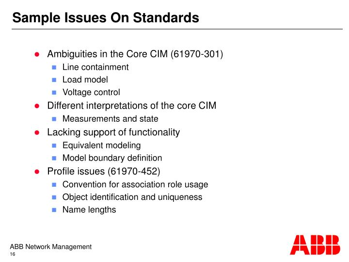 Sample Issues On Standards