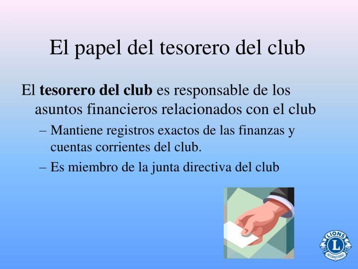 El papel del tesorero del club