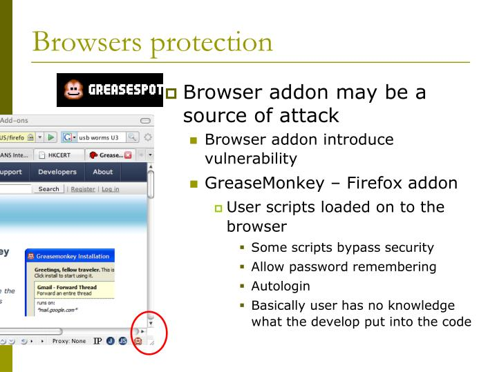 Browsers protection