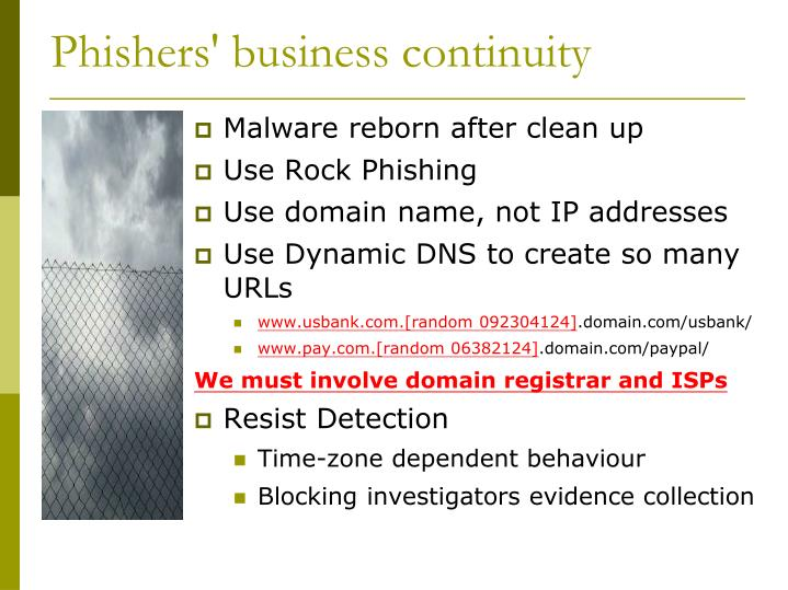 Phishers' business continuity