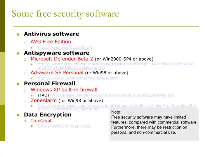 Some free security software