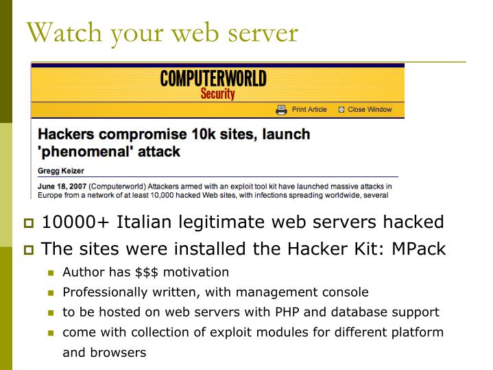 Watch your web server