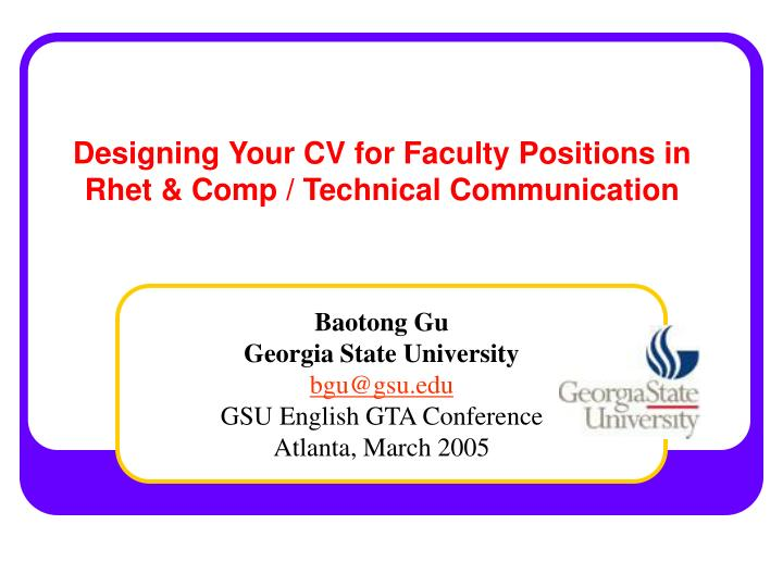 designing your cv for faculty positions in rhet comp technical communication n.
