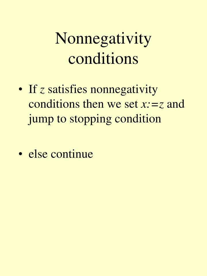 Nonnegativity conditions