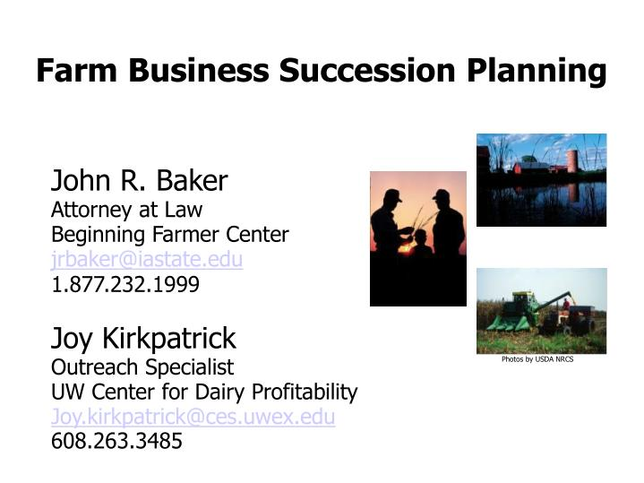 farm business succession planning n.