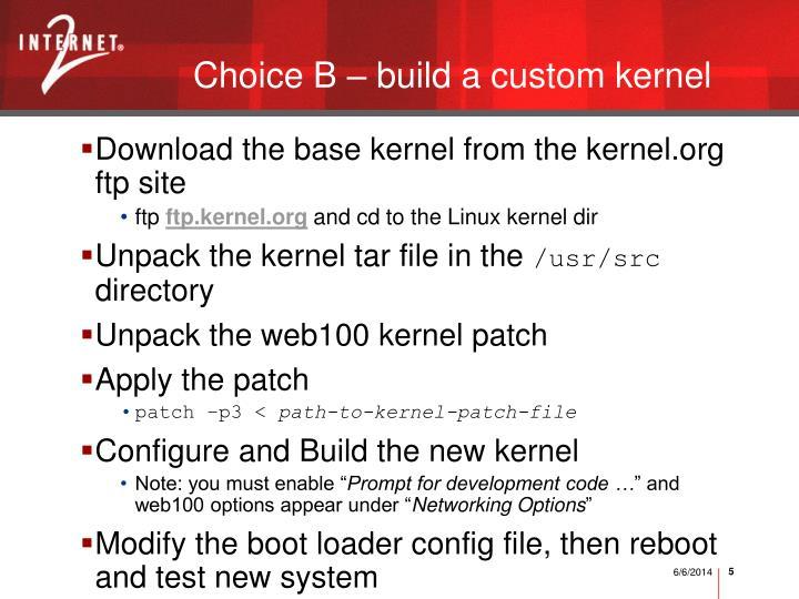 Choice B – build a custom kernel