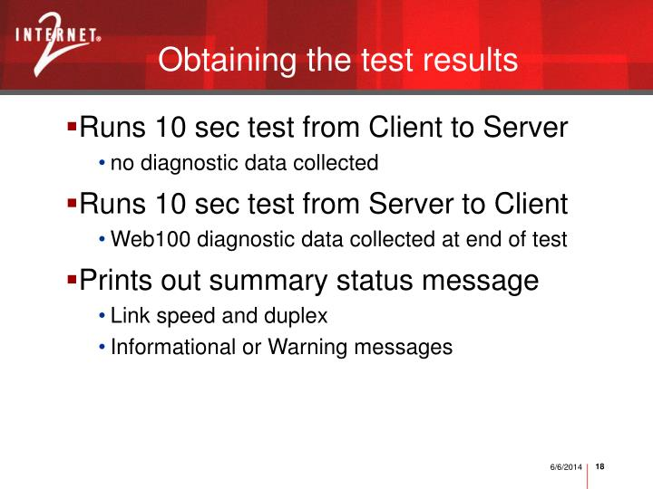 Obtaining the test results