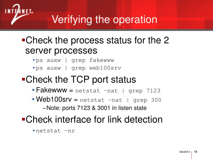 Verifying the operation