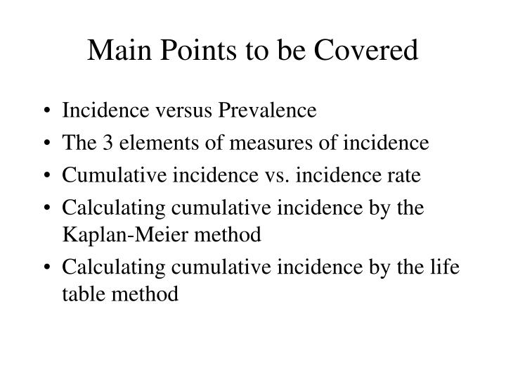 main points to be covered n.