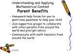 understanding and applying mathematical content parent benefits