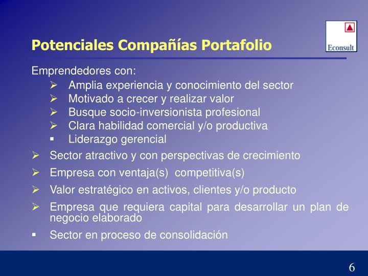 Potenciales Compañías Portafolio