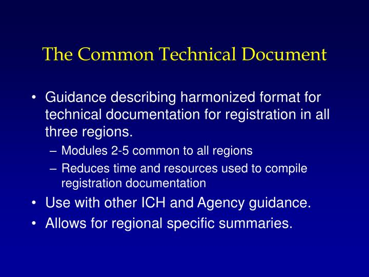 The Common Technical Document