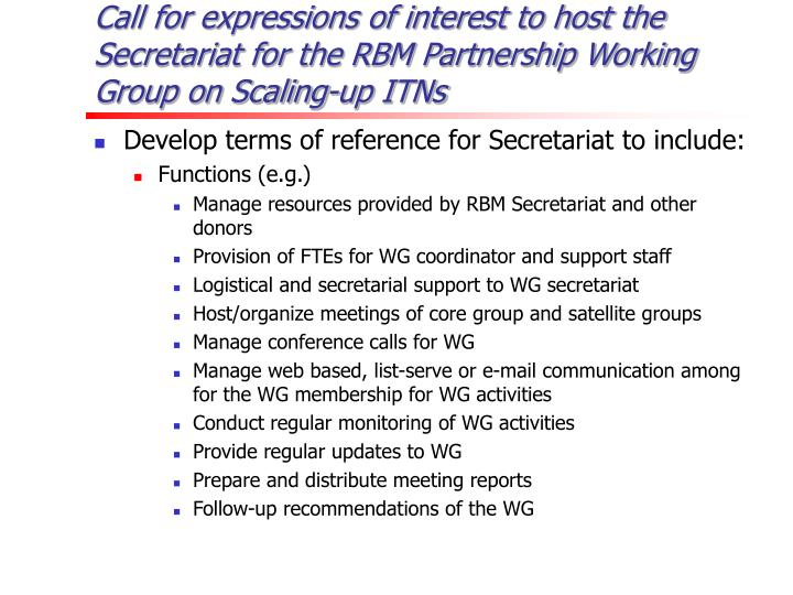 Call for expressions of interest to host the Secretariat for the RBM Partnership Working Group on Scaling-up ITNs