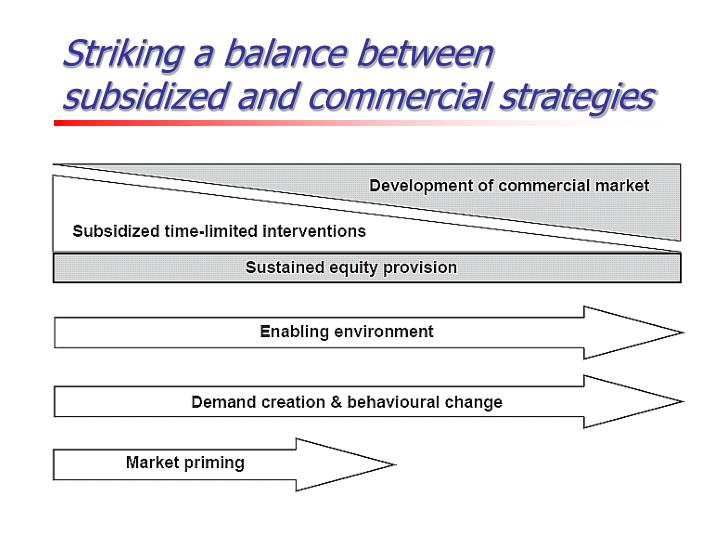 Striking a balance between subsidized and commercial strategies