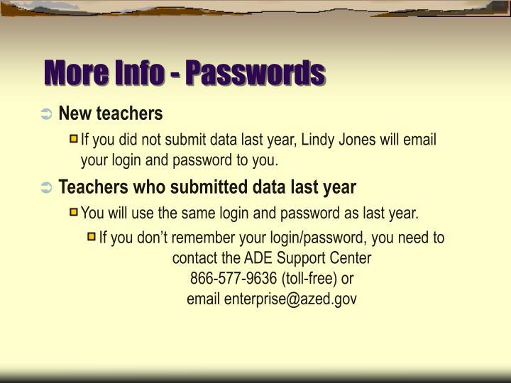 More Info - Passwords