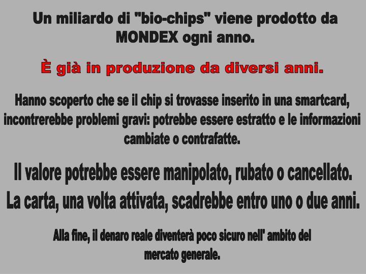 """Un miliardo di """"bio-chips"""" viene prodotto da"""