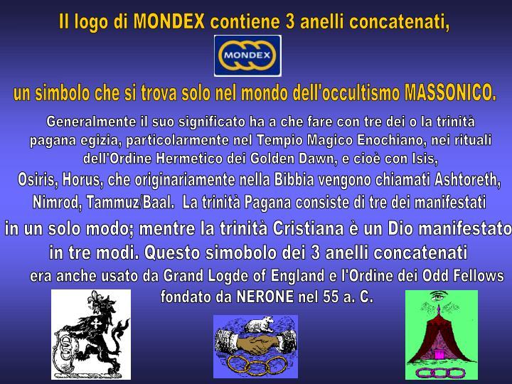 Il logo di MONDEX contiene 3 anelli concatenati,