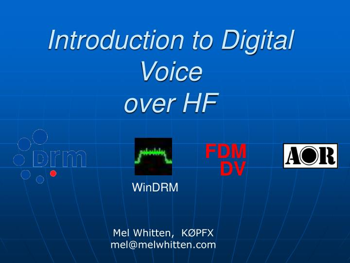 introduction to digital voice over hf n.