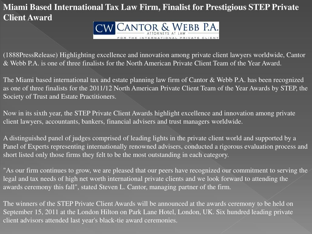 Miami Based International Tax Law Firm, Finalist for Prestigious STEP Private Client Award