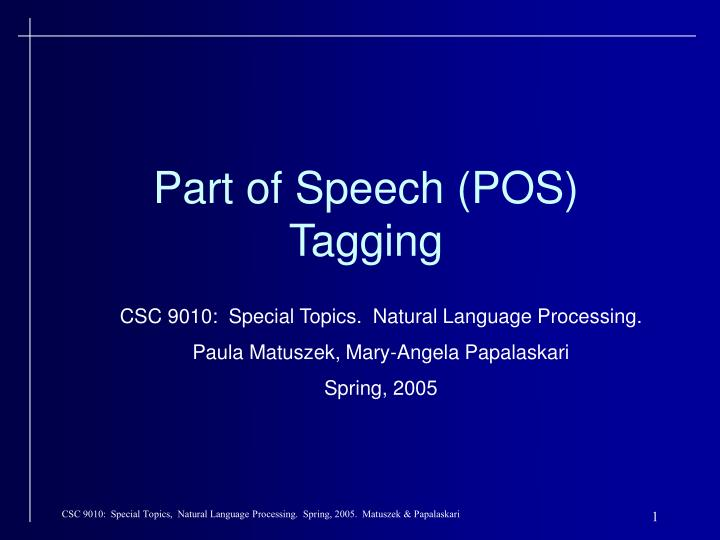 part of speech pos tagging n.