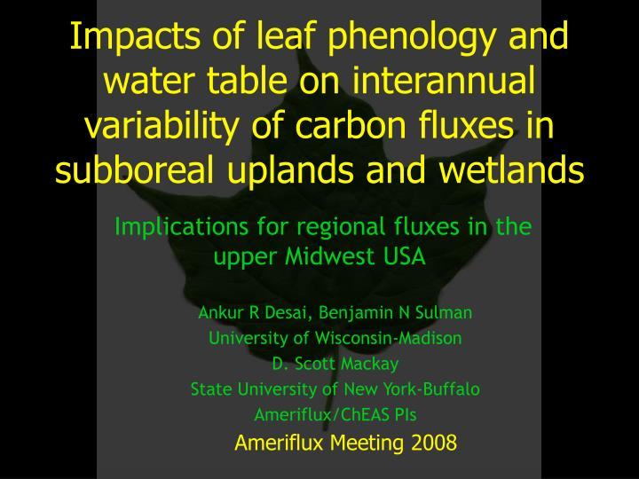 Impacts of leaf phenology and water table on interannual variability of carbon fluxes in subboreal u...