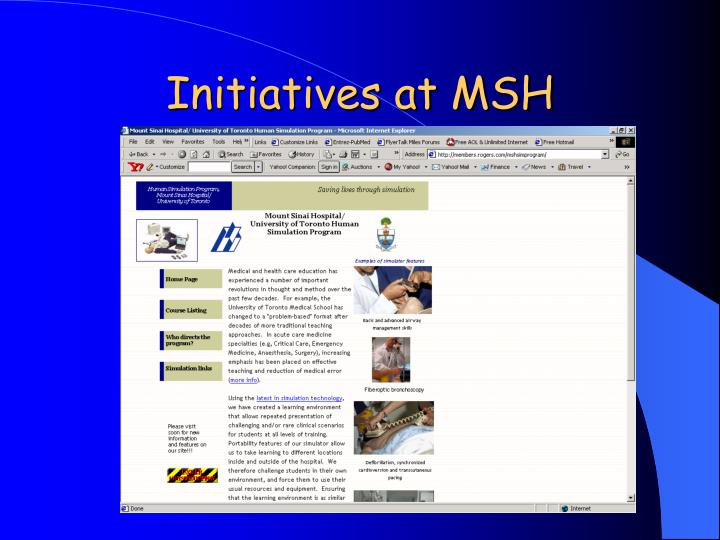 Initiatives at MSH