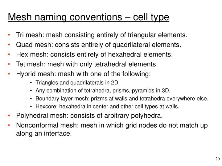Mesh naming conventions – cell type