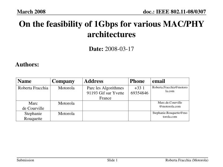 on the feasibility of 1gbps for various mac phy architectures n.