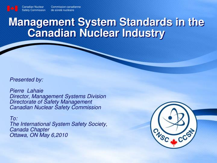 management system standards in the canadian nuclear industry n.