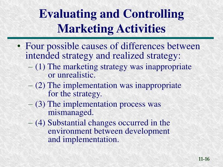 Four possible causes of differences between intended strategy and realized strategy: