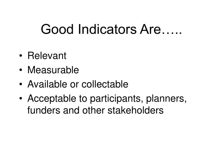 Good Indicators Are…..