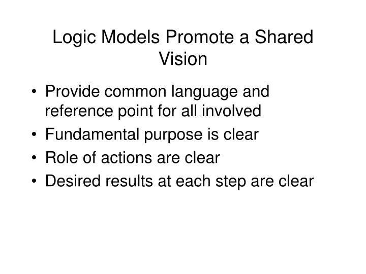 Logic Models Promote a Shared Vision