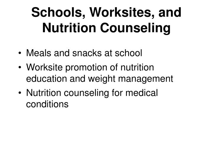Schools, Worksites, and Nutrition Counseling