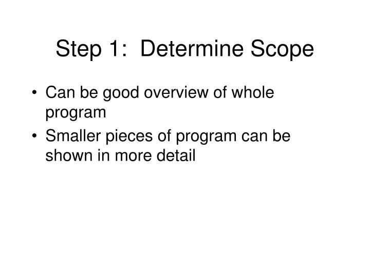 Step 1:  Determine Scope