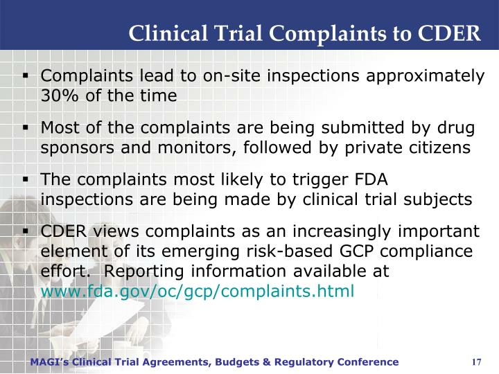 Clinical Trial Complaints to CDER
