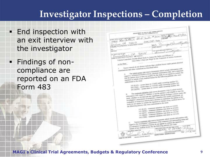 Investigator Inspections – Completion