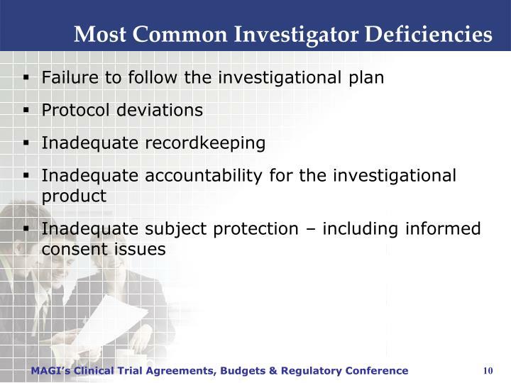 Most Common Investigator Deficiencies