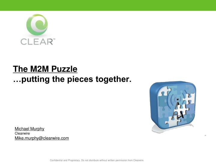 the m2m puzzle putting the pieces together n.