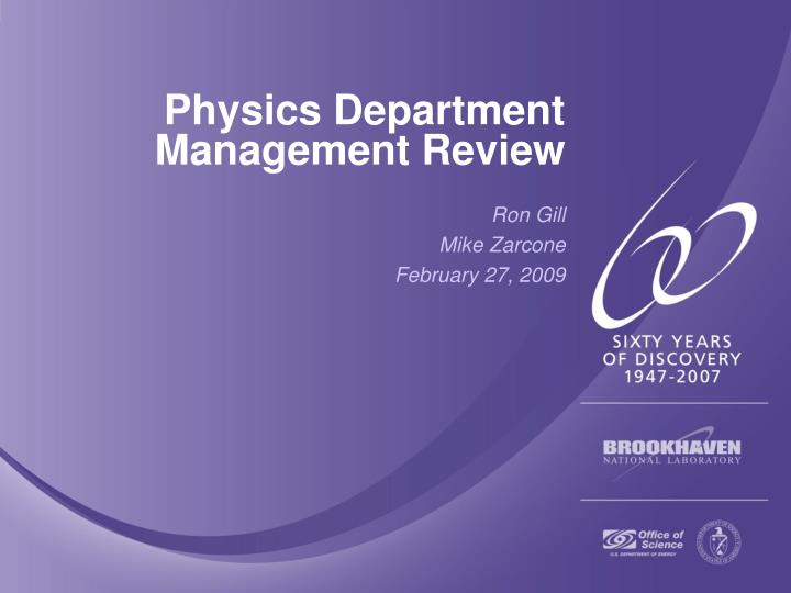 physics department management review