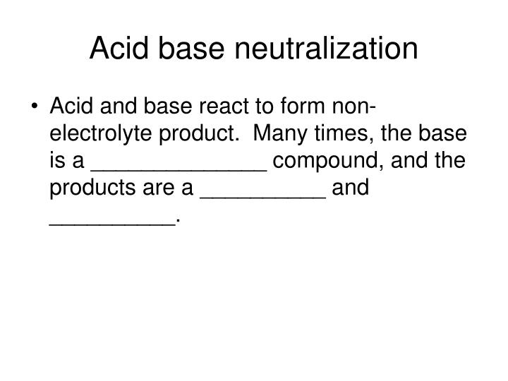 Acid base neutralization