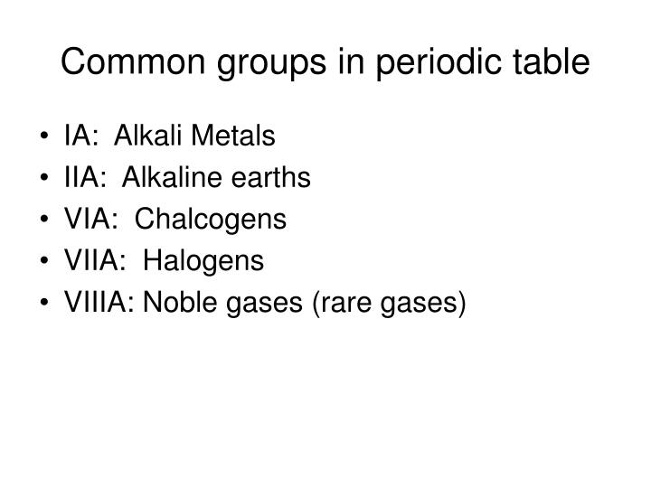 Common groups in periodic table