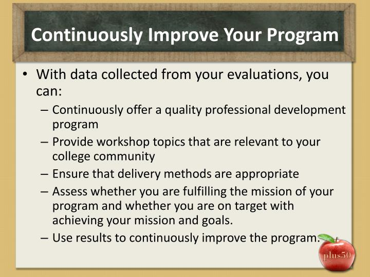 Continuously Improve Your Program