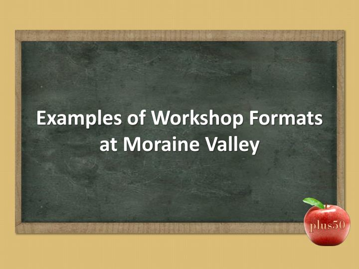 Examples of Workshop Formats at Moraine Valley