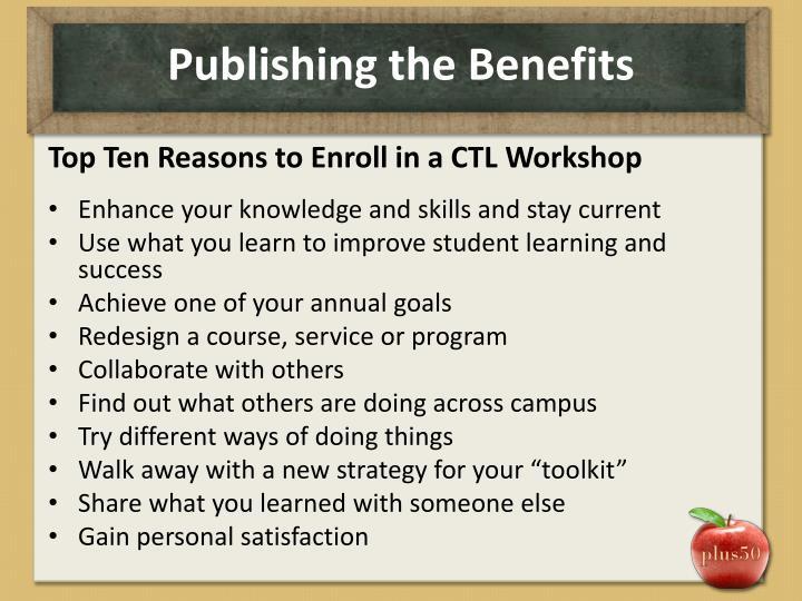 Publishing the Benefits