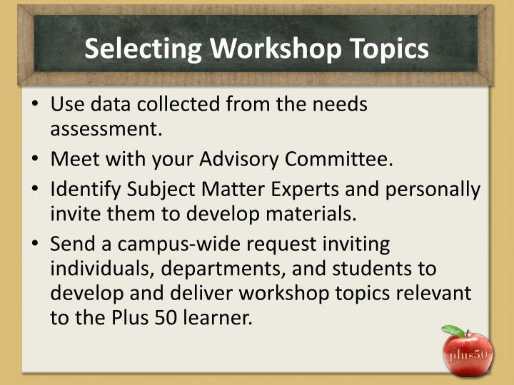 Selecting Workshop Topics